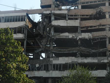 Palazzo bombardato in Belgrado, Serbia